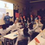 Volunteers from Barcelona ,Spain visit their local elementary school