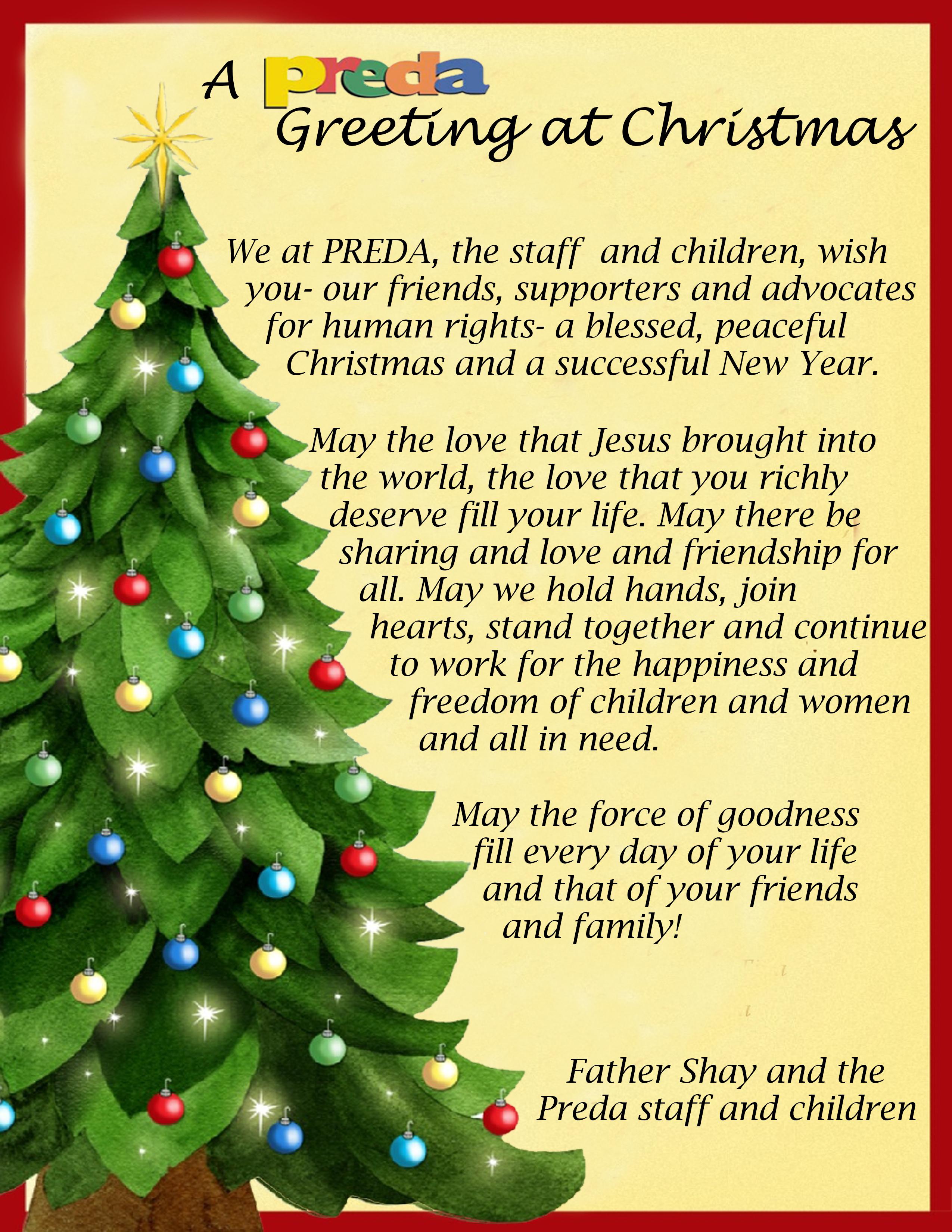 Preda Foundation Inc A Preda Greetings For Christmas